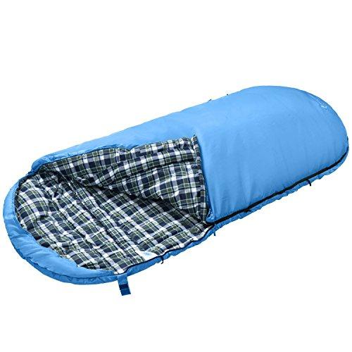 KingCamp Extragroßer Schafsack Eiform Übergroßer Deckenschlafsack mit Flanellinnenfutter (190 + 30) × 100 cm, Blau