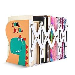 3. VAlinks Adjustable Folding Cartoon Dinosaur Bookends for Kids