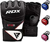RDX Maya Hide Leather Grappling MMA Gloves UFC Cage Fighting Sparring Glove Training F12,Black,Medium