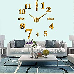 3D DIY Wall Clock,Mirror Surface Decorative Clock for Living Room Bedroom Office Hotel Wall Decoration (Gold)