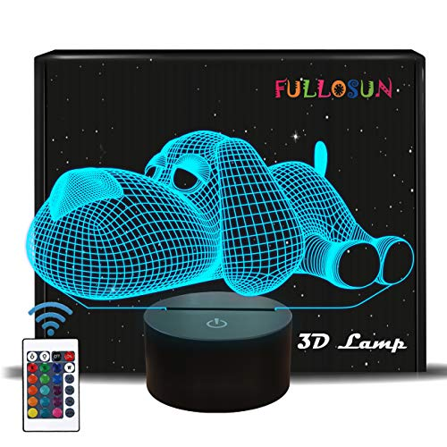 FULLOSUN 3D LED Dog Night Light Lovely Doggy Baby Nightlight for Bedroom,Remote Control 16 Color Change Illusion Decor Lamp Unique Gift