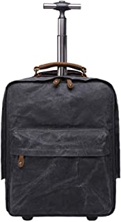 OaLt-t Backpack Male Waterproof Outdoor Trolley Retro Style Travel Multi-Function Luggage Backpack Student Kid Trolley Bag (Color : Black)