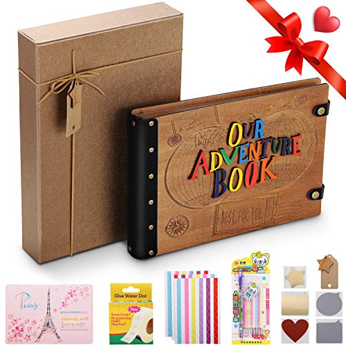 Upgraded Scrapbook Photo Album 12.6x8.7 inch Larger 3D Wood Letters Cover Our Adventure Book Pixar Up Handmade DIY Anniversary Scrapbook Valentines Day Gifts Bonus Luxury Gift Box with Decoration Star