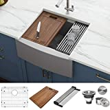 Ruvati Verona RVH9200 33' Apron-front Workstation Farmhouse Single Bowl Kitchen Sink, Stainless Steel, 16 Gauge