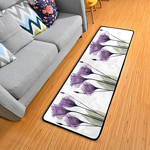 Lavender Hope Flowers Kitchen Rugs Non-Slip Soft Doormats Bath Carpet Floor Runner Area Rugs for Home Dining Living Room Bedroom 72' X 24'