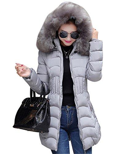 MISSMAO Donna Giacca Trapuntato Cappotti Inverno Spessore Caldo Cappotto Slim Fit con cappucciato di Pelliccia Ecologica Grigio L