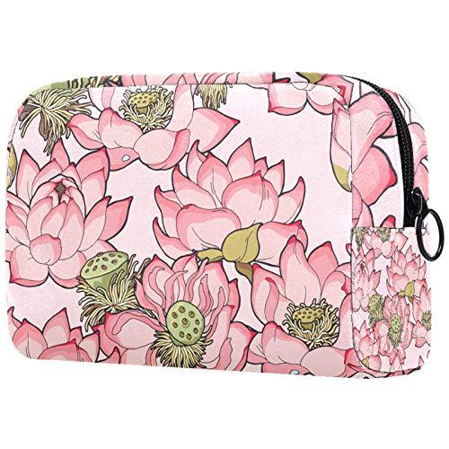 ATOMO Bolsa de maquillaje, bolsa de viaje de moda cosmética grande neceser organizador de maquillaje para mujeres, rosa claro