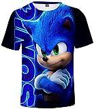 Silver Basic Camiseta Deportiva para Niños 3D Inspirada en la Popular Película y Videojuego Sonic The Hedgehog Summer T-Shirt Sonic Cosplay tee Top XS,921Sonic Costume Azul-3
