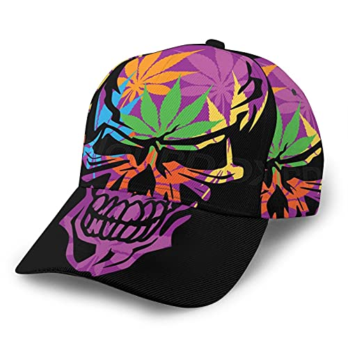 HARLEY BURTON Unisex Gorra de béisbol impresa entera psicodélico violeta cráneo marihuana ajustable empalme Hip Hop Cap sombrero de sol