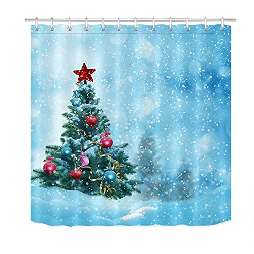 Weihnachtsbaum Duschvorhänge für BadezimmerWeihnachtskugeln Dekor Winter Schneeflocke Duschvorhang Set mit 12 Haken72x72 Zoll Extra Langes Polyestergewebe Wasserdicht