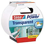 Tesa extra Power Clear Duct Tape - Cinta impermeable de reparacin transparente para exteriores, 10 m x 50 mm
