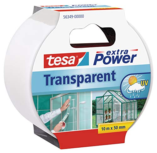 Tesa extra Power Clear Duct Tape - Cinta impermeable de reparación transparente para exteriores, 10 m x 50 mm