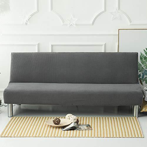 D&LE Volltonfarbe Armless Sofa Überwurf, Polyester Stretch Sofa Decken Sitzer Couch beschützer Passt Falten Sofa Bett ohne armlehnen-Grau 2-3 Sitzer 160-190cm