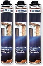 3 x Berner 1-K PU-pistoolschuim 750 ml kwaliteit raamconstructie schuim *****Montageschuim voor ramen, kozijnen, vensterba...