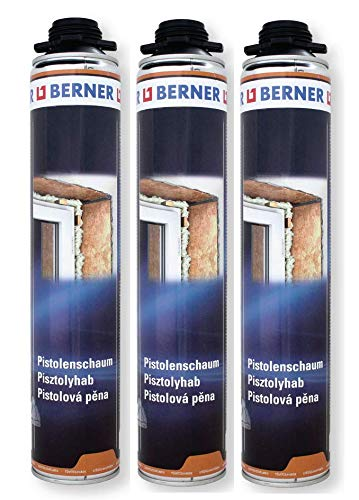 3 x Berner 1-K Pu-Pistolenschaum 750ml Qualitäts Fenster-Bau-Schaum *****Montageschaum für Fenster Zargen Fensterbänke Kühlwagen Kühlraumbau Schalldämmung Mauerdurchbrüchen Dachausbau***** 3 Stück