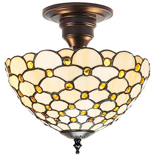Traditioneel amberkleurig Tiffany-plafondlampje met meerdere ronde kralen