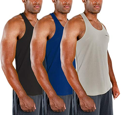Workout Muscle Tank /ärmellos Racer Y-Back Gym Training Cool Dry Top ATHLIO Herren 3er Pack