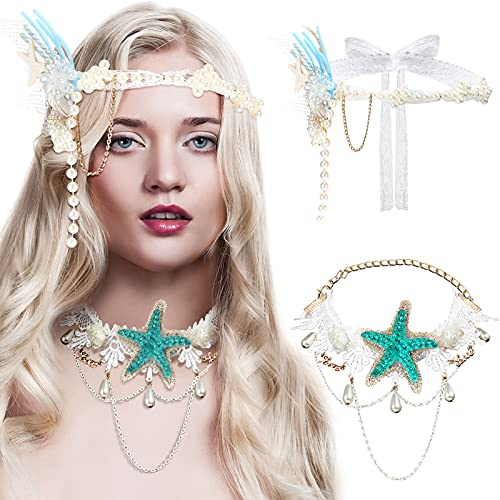 2 Pieces Mermaid Costume Set, Includes Sea Star Starfish Hairbands Headpiece Mermaid Hair Accessories and Beach Style Starfish Necklace Bohemia Mermaid Necklace for Women Girls Party Cosplay Supplies