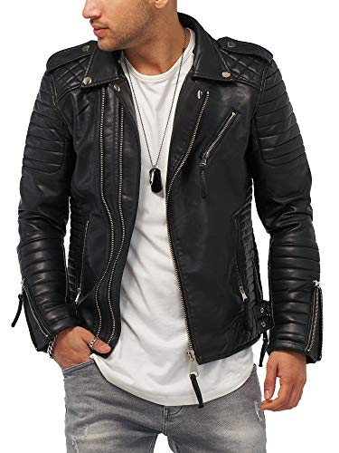 Rello & Reese Herren Kunst-Lederjacke schwarz Jacke Biker-Style Übergangsjacke Stehkragen MT-88 [Schwarz, L]