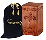 wood adult urn - Solid Rosewood Cremation Urn with Hand-Carved Cross Design for Human Ashes - Celtic Cross Wooden Urn - Adult Wood Funeral Urn Handcrafted and Engraved - Affordable Urn for Ashes - Wood Urn