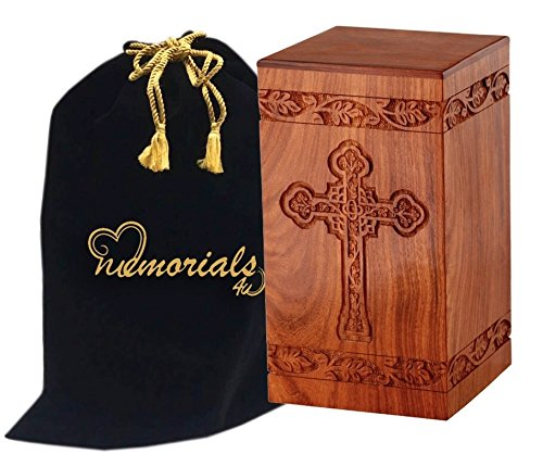MEMORIALS 4U Solid Rosewood Cremation Urn with Hand-Carved Cross Design for Human Ashes