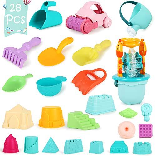 Winload 28 Piezas Conjunto de Juguetes de Playa para niños, con Carro de Playa, Rueda de Agua, Regadera, Herramienta de Pala de Arena, Moldes del Castillo y Bolsa de Red (Color Aleatorio)