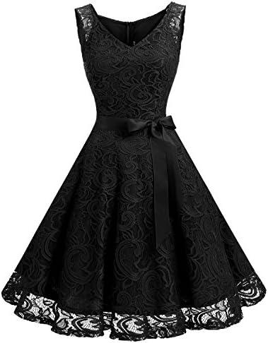 Dressystar 0010 Women Floral Lace Bridesmaid Party Dress Short Prom Dress V Neck Black S product image