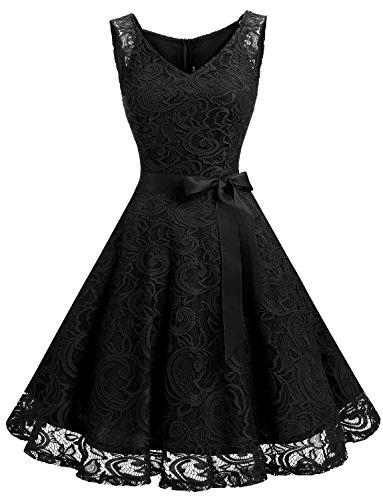 Dressystar Women Floral Lace Bridesmaid Party Dress Short Prom Dress V Neck (Apparel)