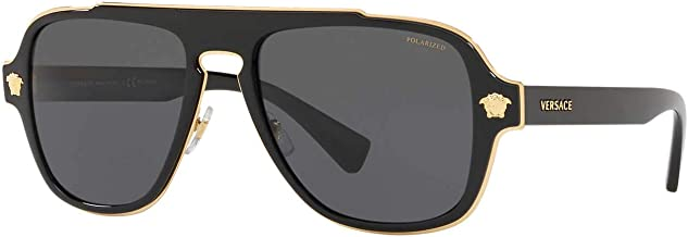 Versace Man Sunglasses, Black Lenses Metal Frame, 56mm