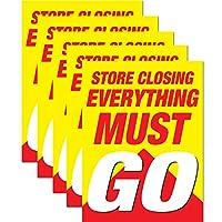 Store Closing Everything Must Go | ウィンドウリテールディスプレイサインボード ビジネス用 | 18 x 24インチ 5 Pack