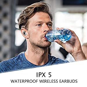 ELECDER D12 True Wireless Earbuds Bluetooth 5.0 Headphones in Ear with Microphone, LED Battery Digital Display, IPX5 Waterproof, Charging Case for Workout, Running (Black)