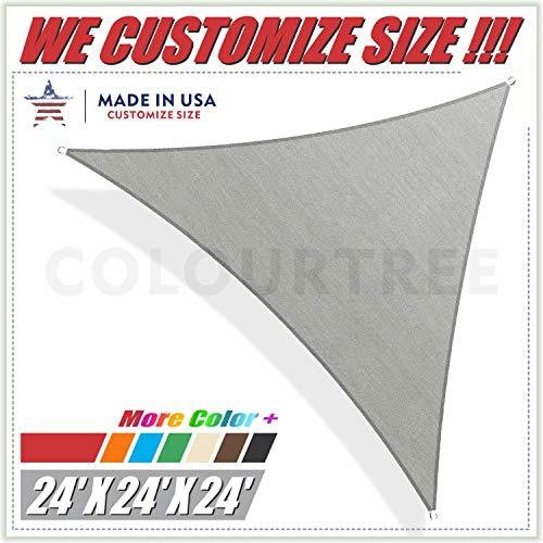 ColourTree 24' x 24' x 24' Grey Triangle Sun Shade Sail Canopy Awning Shelter Fabric Cloth Screen - UV Block UV Resistant