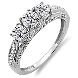 Dazzlingrock Collection 1.00 Carat (ctw) 14K Gold Round Diamond Vintage Bridal 3 Stone Engagement Ring 1 CT