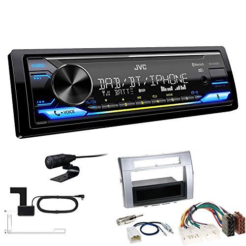 JVC KD-X472DBT 1-DIN Autoradio Bluetooth USB inkl DAB Antenne Einbauset passend für Toyota Corolla Verso 2004-2009 Silber