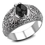 Onyx Seal Sigil of the Necronomicon Ring for Women's and Men's Ring 925 Sterling Silver Size 6-15