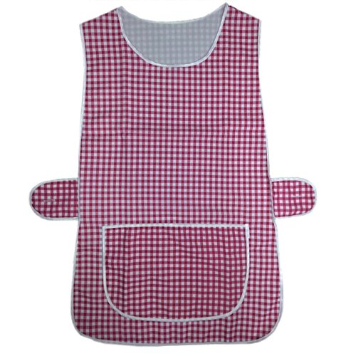 MyShoeStore LADIES WOMENS CHECKERED TABARD HOME WORK KITCHEN CLEANING CHEF CATERING CLEANERS WORKWEAR OVERALL PIPING EDGE CHECK TABBARD APRON WITH LARGE POCKET SIDE BUTTON FASTENING PLUS BIG SIZE by MYSHOESTORE