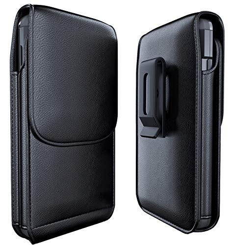 Meilib Samsung Galaxy S10 S9 S8 Holster, Cell Phone Belt Holster Case with Belt Clip Leather Pouch Cover for Samsung Galaxy S10 S8 S9 (NOT Plus) – Built in ID Card Holder (Fits Phone with Case on)