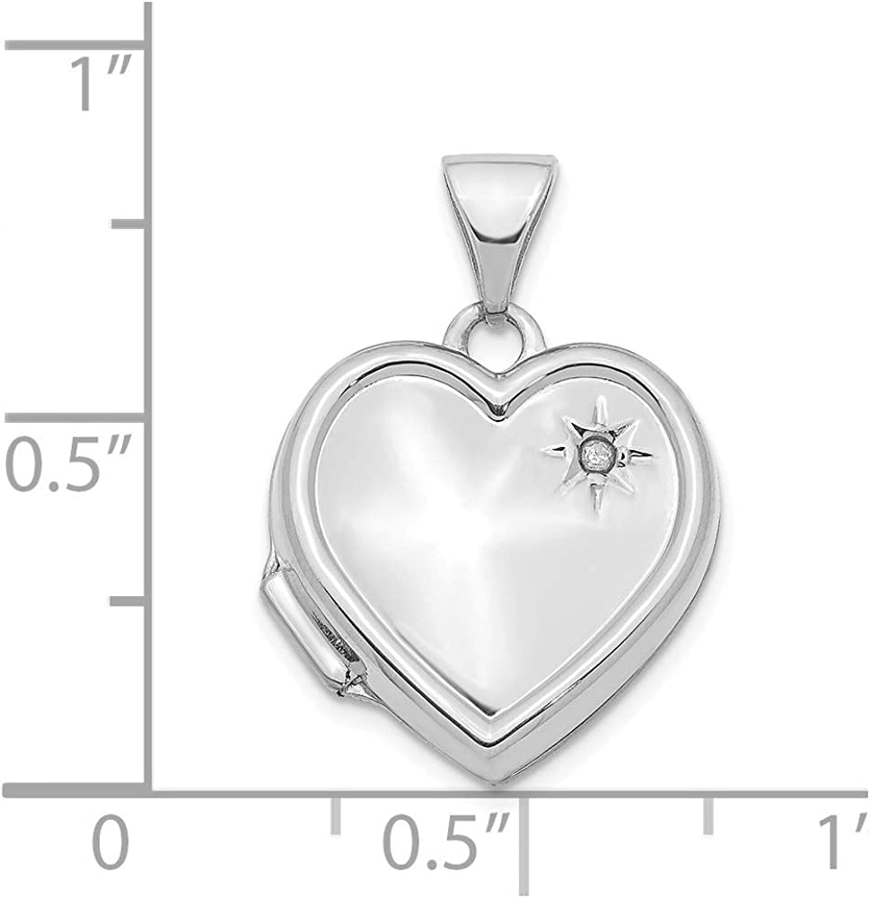 14k White Gold Diamond 16mm Heart Locket Pendant Charm Necklace Fine Jewelry For Women Gifts For Her