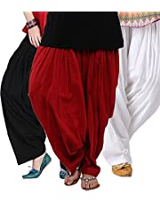 KRISHNA FASHION Women's Cotton Traditional Patiala Salwars (Black, Red and White, Kris-patiala-3) - Pack of 3