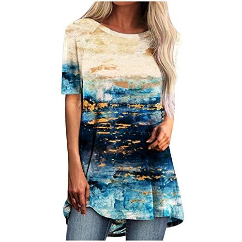 VEMOW Blusas y Camisa Manga Corta para Mujer Moda Cuello Redondo Talla Grande, Suelto Cómodo Casual Estampado de mariposas Camiseta Primavera y Otoño Fiesta Tshirt Tops Original tee