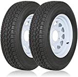 WEIZE ST175 80D13 175/80D13 Trailer Tires With 13' White Wheel - 5 on 4-1/2 Load Range C, 6 Ply, Set of 2