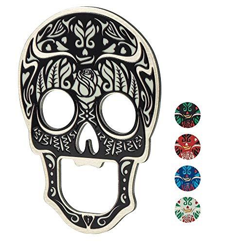 KADAX Abridor de botellas con forma de cráneo de metal, abridor de cerveza, abridor de botellas con imán, abridor de cápsulas (Negro)