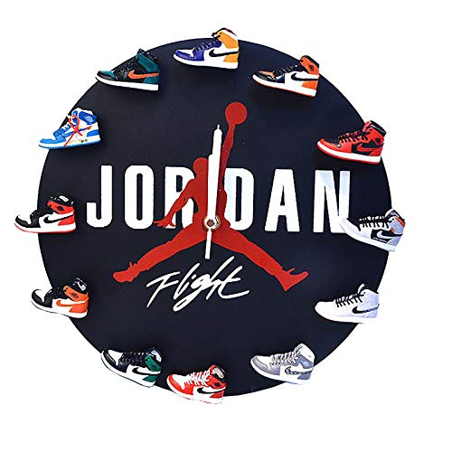 YFBB 3D-Sneaker Wall Clocks, Exklusive Uhr Jordan Shoes Dekorative Uhr, handgefertigte Uhr/Creative Cloc/Neuheit Design 3D Sneakers Wanduhr - Do It Yourself - Das Beste GeschenkBlack