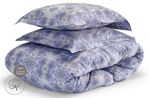 savastextile Mako Satin Bettwäsche 155x200 Baumwolle 3 Teilig - 100% Baumwolle Bettwäsche Leinen – Cotton Linen Bett Wäsche - Hellblau Bettwäsche ägyptische Baumwolle mit 2 Kissenbezüge