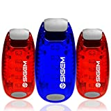 SIGEM Clip on Safety LED Light and Accessories, Red-Blue, 3-Pack