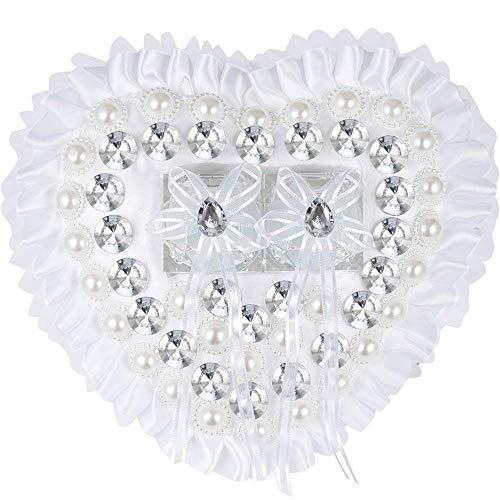 Bruiloft ringkussen wit hartvorm met roze bloemen strass kristal decoratie gepersonaliseerd trouwring drager kussen bruiloft ringkussen voor bruidspaar W8