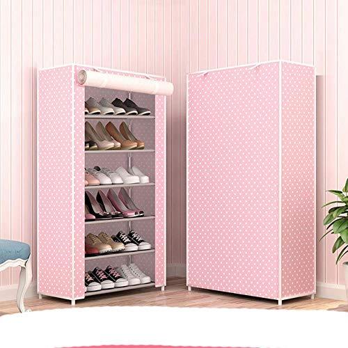 Simple Multi capas zapatero tela no tejida zapatos organizador rack sala re estilo moderno DIY zapato gabinete-rosa punto 6L