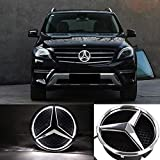 White LED Emblem for Mercedes Benz 2013-2015, Car Front Grille Badge, Drive Brighter Illuminated Logo Hood Star DRL for Mercedes Benz A B C E R GLK ML GL CLA CLS Class