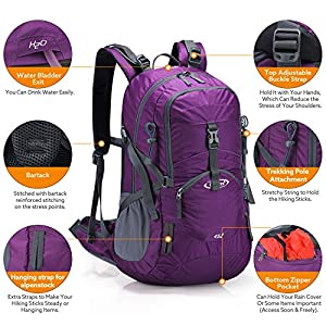 G4Free Purple Hiking Backpacks Women Waterproof Backpacking Daypack Pack with Rain Cover for Outdoor Camping Camping Mountaineering Trekking Travel (Purple Red)