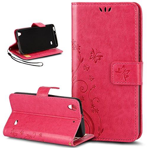 Kompatibel mit Huawei Ascend G620S/Honor 4 Play Hülle,Malerei Schmetterling PU Lederhülle Flip Hülle Cover Ständer Karten Slot Wallet Tasche Hülle Schutzhülle für Huawei Ascend G620S,Rose rot